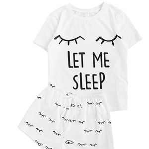 LET ME SLEEP Pajama Shorts Set